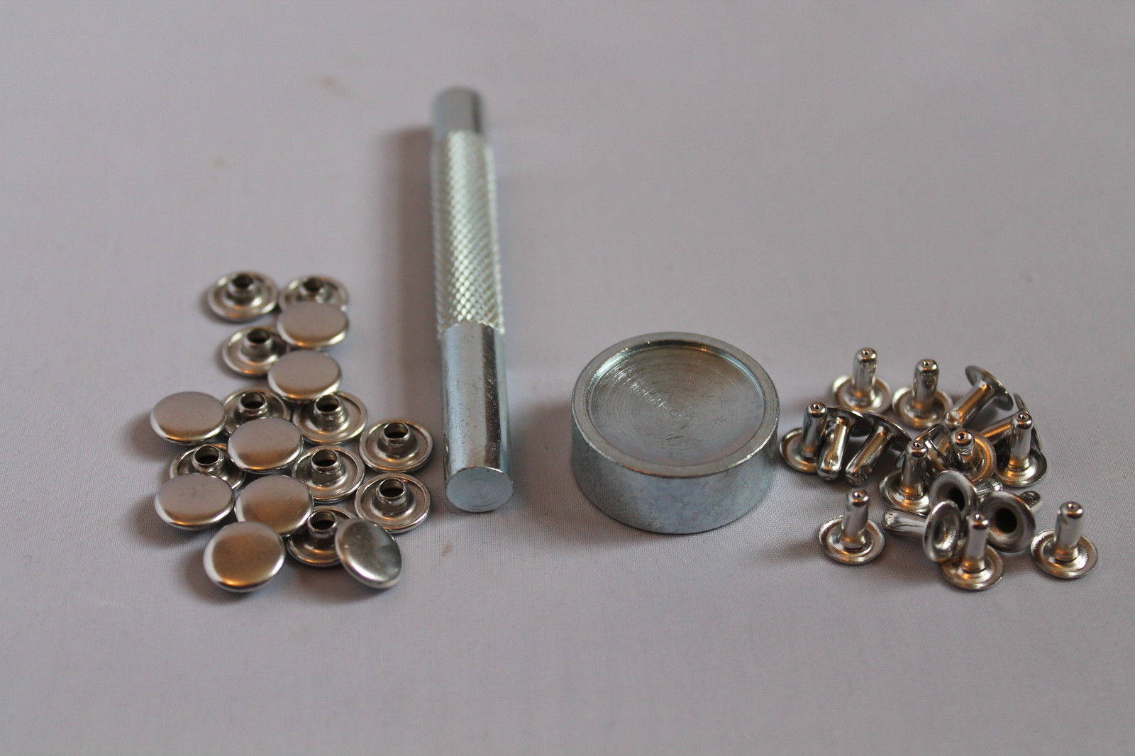 8mm 100 Silver Two Piece Double Cap Tubular Rivets Leather Punk Craft Repair DIY