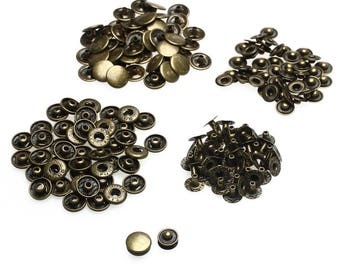 Press Studs - Size 12.5mm - Bronze S Spring Press Studs Snap Fastener Poppers Button Sewing Clothing