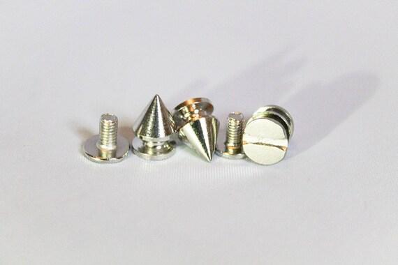50pcs Punk Screw Back Studs//Rivets Spike Cone Brass 7mm x 10mm for DIY Crafts UK