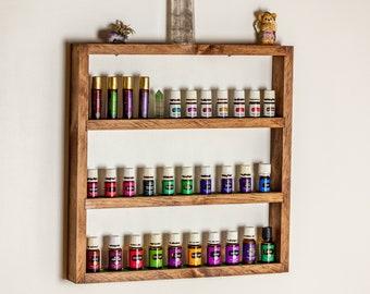 Essential Oil Storage, Large Wood Essential Oil Shelf, Essential Oil Organizer/Holder/Gift, Rustic Wood Shelf