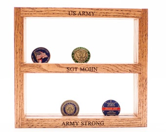 Military Challenge Coin Holder, Coin Display, Hanging Wall Shelf, Laser Engraved Gift, Military Gift