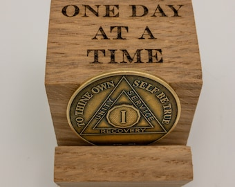 Wooden Coin Holder, Recovery Coin Holder, Laser Engraved, Sobriety Gift, AA Gift, One Day at a Time
