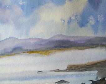 watercolour,landscape, original, framed picture, lake,Scotland