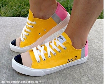 b79f600c1b22c4 Made-to-Order Yellow Pencil Hand Painted Teacher Shoes Back to School