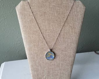 Waves of Love (22) - Round Original fluid art pendant with chain