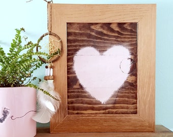 rustic pink heart rose gold farmhouse style art