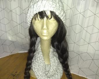 Knit grey & white hat scarf set