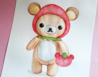 Kawaii bear , ORIGINAL Watercolor painting , children wall art , Kawaii Art , Animal Watercolor , cute painting , Nursery wall art , A4