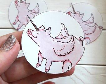 3 Piggy sticker set   art print