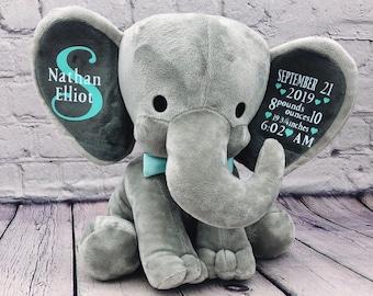 baby birth announcement elephant plush stuffed animal details stats baby gift newborn gift, keepsake, new mom,  baby shower, personalized