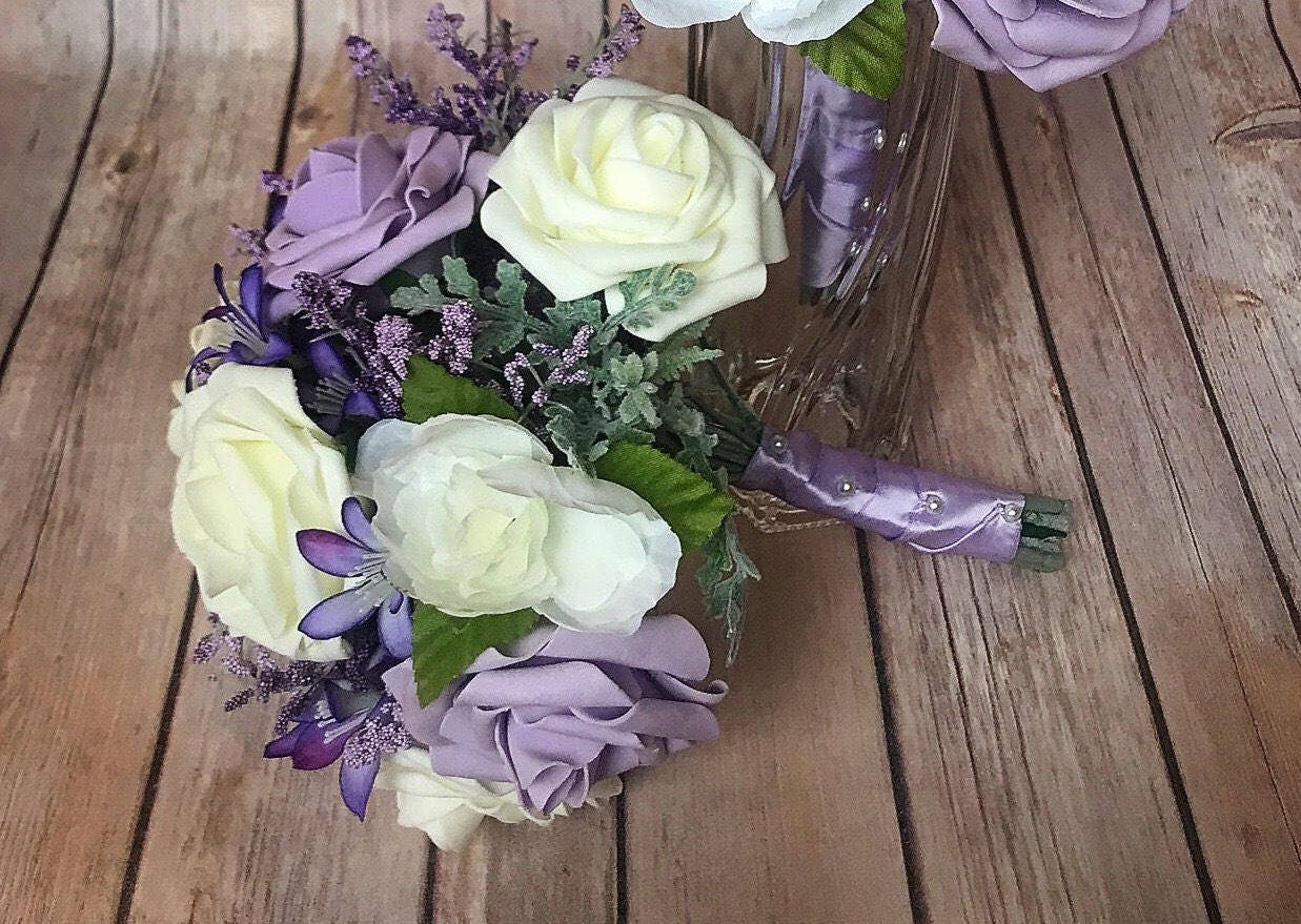 Lavender and ivory bridesmaid bouquet wedding flowers wedding zoom izmirmasajfo