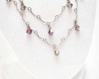 Double Tiered silver necklace with purple and gray accents