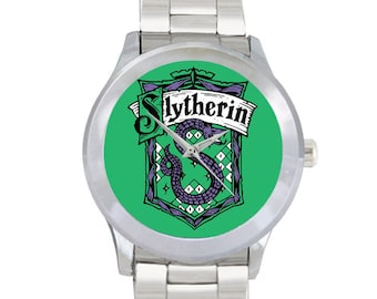 Slytherin House Mens Metal Watch Bracelet Watch Harry Potter Wizard School of Witchcraft and Wizardry Gift for Fans