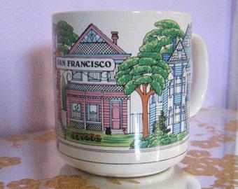 Vintage Rainbow San Francisco 1980s Victorian Houses Coffee Mug Tea Cup Souvenir Carol Foldvary-Anderson Mothers Day