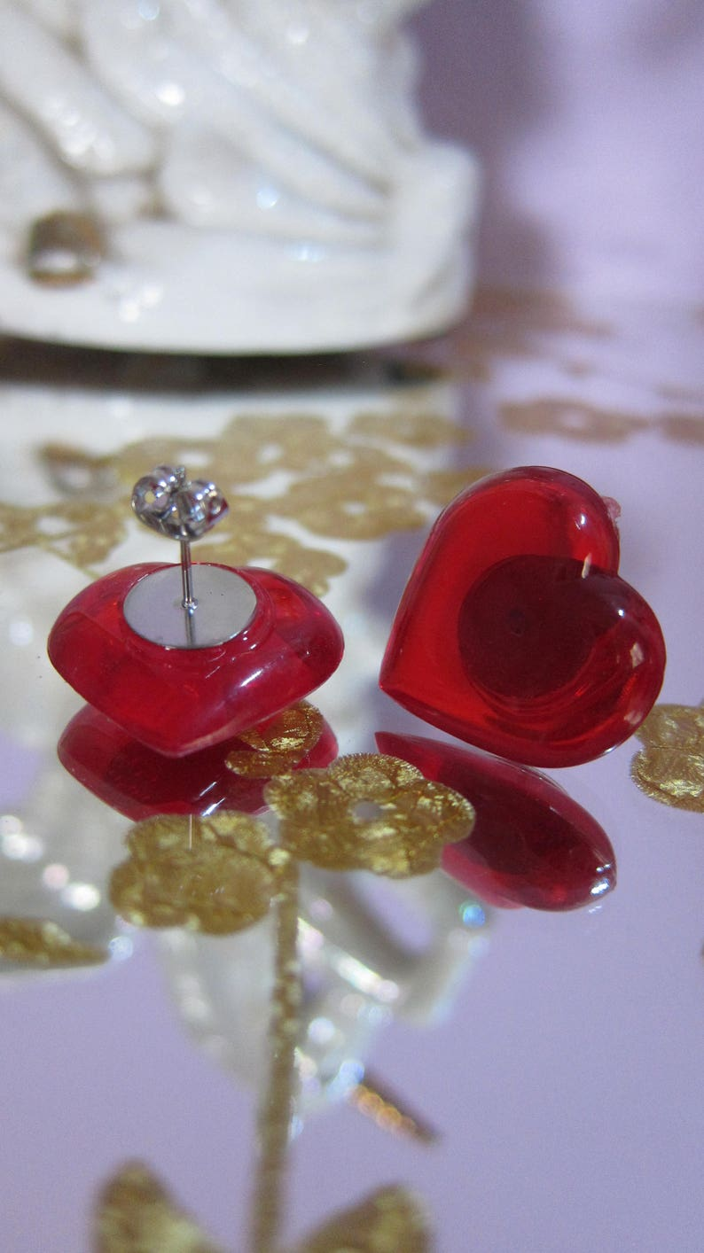 Pink Or Red Cutie Heart Plastic Stud Earrings Made to Order