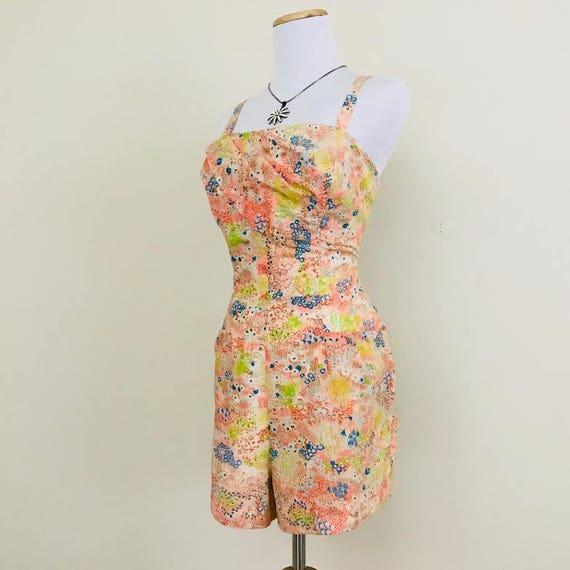 15d330e967bc Vintage 1960s   Sears Hawaiian Fashions   Peach Floral Romper