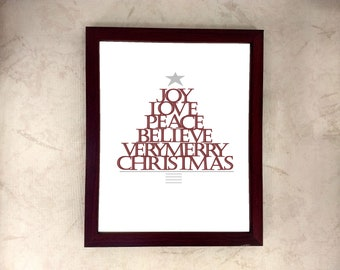 Christmas Word Tree, Home Decor, Wall art, Print