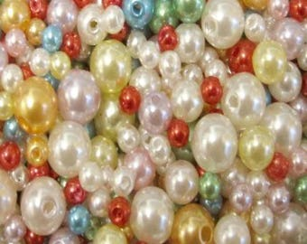 25g - 4,6,8mm Mixed Acrylic Pearl Beads - A5203