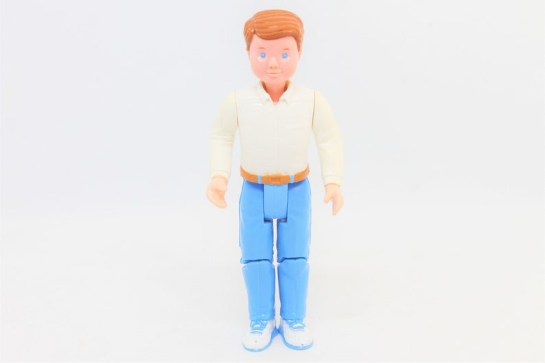 Vintage Fisher Price Dream DollHouse Loving Family Dad Father Figure Brown Brunette Hair Doll House Replacement Piece Blue Jeans White Shirt
