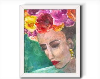 Frida Kahlo Inspired Wall Art - Art Print from Original Painting - Deep Thoughts