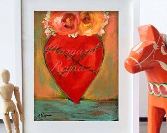 """Sacred Heart of Infinite Love - Art Print from Original Painting """"Corizon"""""""