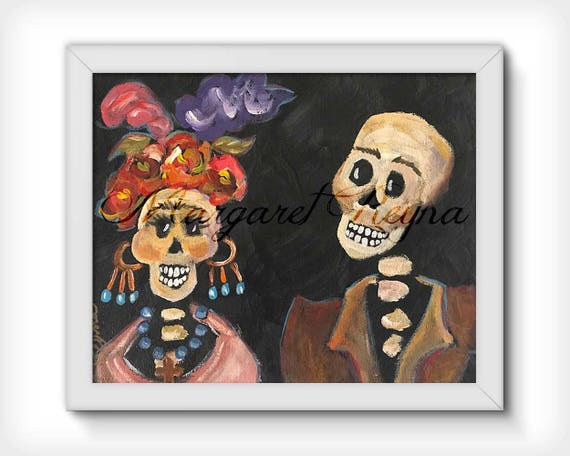 Day Of The Dead Catrina Couple Art Print From Original