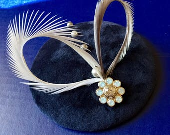 Blue velvet, wedding feather and pearl fascinator.