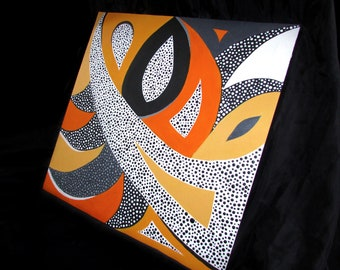 "Decorative 50X50cm ""The Cat"" Abstract Monochrome Unframed Acrylic Painting with Polka Dots"