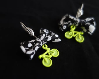 Small knots yellow bicycle charm earrings