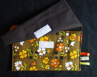Black cotton lining and fabric flowers Vintage multi-purpose bag