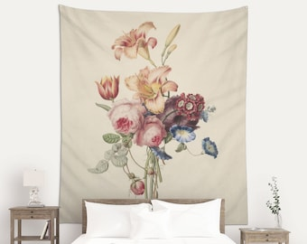 Floral Bouquet Art, Wall Art, Wall Tapestry, Dutch Floral Drawing, Fabric Wall Hanging, Watercolor Art, Henriëtte Geertruida Knip. FLR001