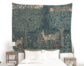Greenery Tapestry for wall decoration, 19th century textile art printed on a wall hanging fabric. Forest tapestry (Cropped). JHD001