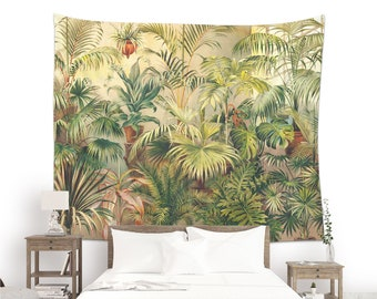 Tropical Tapestry of Palms, Monstera, Saw Palmetto and other plants, Vintage Tropical Print. VIN007