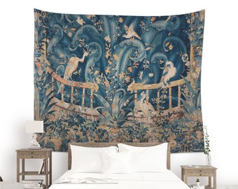 French wall tapestry with birds and plants, Verdure tapestries, Blue wall art vintage decoration (Printed), Verdure d'Audenarde. MIS004