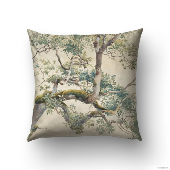 Watercolor Tree Throw Pillow For Nature Or Wedding Decoration Etsy