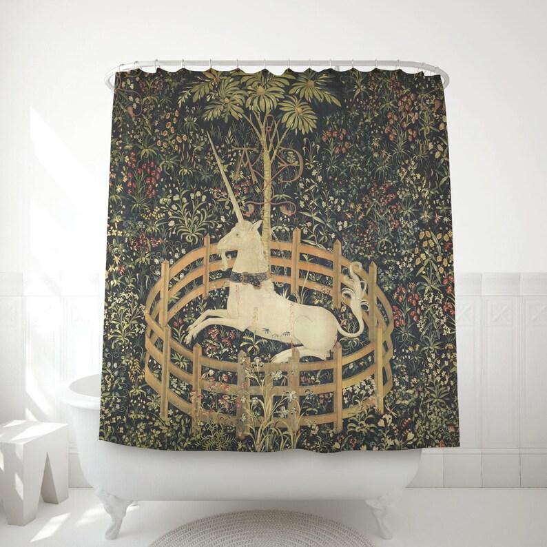 Medieval Decoration Shower Curtain Unicorn In Captivity