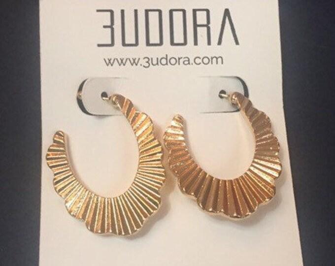 Pleated Gold Earrings