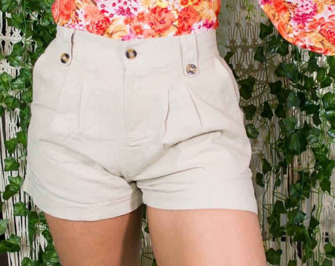 Sand Linen High-Waisted Shorts