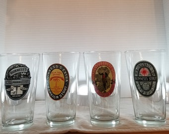 Set of 4 Guinness Glasses, Glass. Beer, Bar, Man Cave