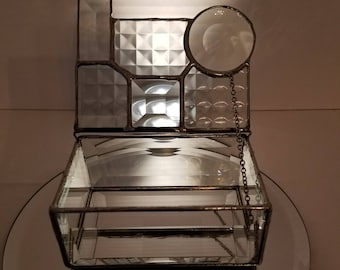 Abstract Shaped Stained Glass Treasure, Jewelry Box. 5 x 3/12