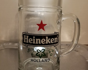 Large Heineken Beer Mug, Stein, Glass. Bar, Man Cave
