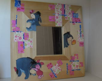 "Wooden mirror and decopatch ""Eeyore"""