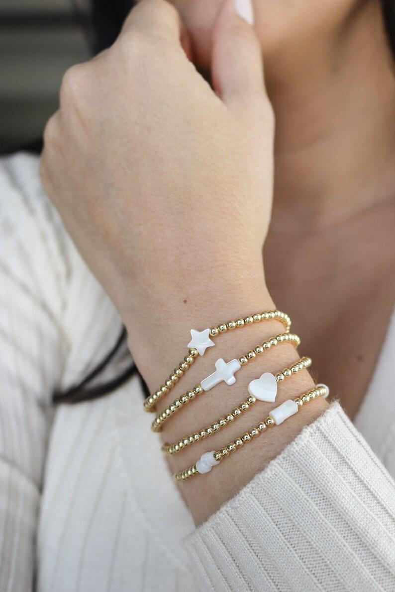 star bracelets Dainty beaded women/'s bracelet Bracelets for women beaded stretch pearl bracelets cross bracelets stretch moon bracelet