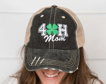 f35d29696f1 4-H mom hat, trucker hat, mama style hat, baseball hat, embroidered hat,  mothers day gift, gift for mom, baseball cap, mama hat, 4-h hat