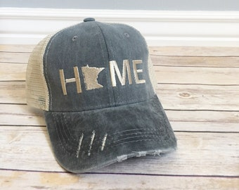 official photos 0fcb0 01472 Minnesota Home hat, womens hat, grey hat, home trucker hat, embroidered  home hat, mothers day gift, gift for mom, tan cap, baseball cap