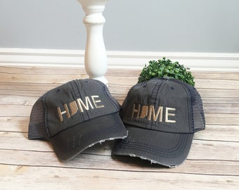 Indiana Home hat, indiana state hat, home trucker hat, embroidered hat, indiana state hat, teacher gift, grey cap, baseball cap, grey hat