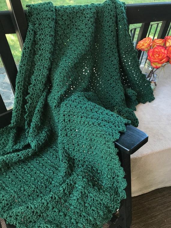 Crochet Throw In Deep Forest Green Crochet Afghan Dark Green Etsy Stunning Forest Green Throw Blanket