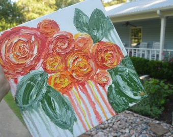 Red and Orange Roses Oil Painting
