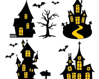 Haunted House Halloween Cuttable SVG PNG DXF Eps Designs Cameo File Silhouette