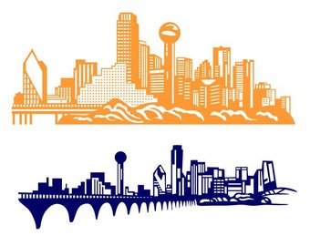 dallas skyline svg etsy